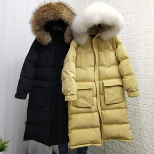 Janveny Mulheres Down Jacket Grande Grande Collar Natural Collar Hooded Ladies Feather Jackets 90% Duck Down Casaco Long Puffer Parka