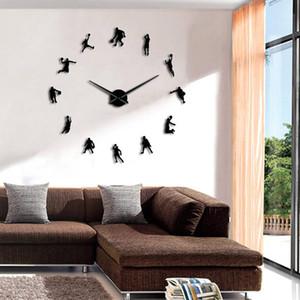 Basketball Slam Dunk DIY Large Wall Clock Giant Wall Watch Basketball Players 3D Mirror Wall Sticker Watch Clock