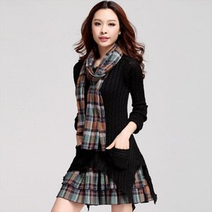 plus velvet scarf checked dresses warm large size women long sleeve vestido asymmetrical knit plaid autumn winter pleated dress
