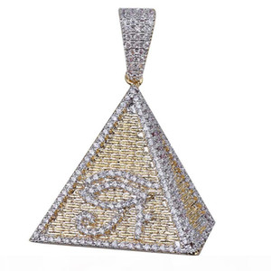 Hip Hop Gold Color Plated Egyptian Pyramid Eye of Horus Pendant Necklace Iced Out Micro Paved Zircon Bling Chram Jewelry