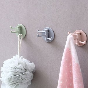 Rotatubable беззубоночный 3-ветвь крюк многофункциональный ванная комната полотенце ванна мяч настенный крючок кухонный ложка тряпкая губка держатель ключевые крючки vtky2092