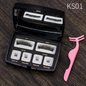 Genailish Handmade Makeup Tool Eye Lashes Magnetic Lashes 6D False Eyelashes Natural Long Magnet Eyelashes Acrylic Box SCT04-2