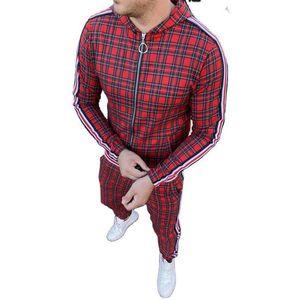 Мужчины Фитнес костюм 2-х частей Открытый Спортивная одежда Бег костюм Lattice Полосатые Letters Zipper с Hood Sports Cn (происхождения) Quick Dry