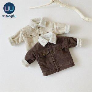 Çocuk Erkek Kız Sıcak Ceket Uzun Kollu Katı Renk Sonbahar Bebek Ceket Kalınlaşmak Giyim Rahat Aby Kız Giysileri Kış LJ201007