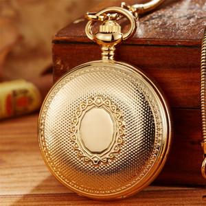 Роскошный медный материал Топ бренда скелет механические карманные часы Мужская цепь FOB Golden автоматическая скульптура женщины мужские часы подарок T200502