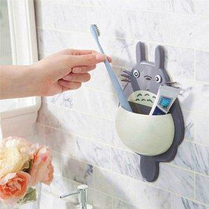 Linsbaywu 1 unids Historieta linda Totoro Cepillo de dientes Soporte de montaje de pared para decoración familiar Organizador de baño Herramientas Accesorios