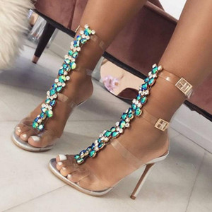 Women Sexy Sandals PVC Designer Rhinestone Transparent Stiletto Heels Shoes Crystal T-Strap Lady High Heels Dress Shoes