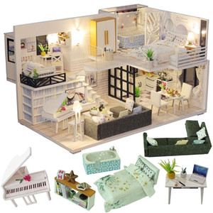 MousseBee Diy Dollhouse Poupée en bois Maisons Miniature Doll Maison Meubles Kit Casa Musique LED TOYS POUR ENFANTS Cadeau d'anniversaire LJ200911