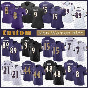 8 Lamar Jackson BaltimoreRaven Özel Erkek Bayan Çocuk Futbol Jersey 9 Justin Tucker 89 Mark Andrews 27 JK Dobbins 15 Markiz Kahverengi