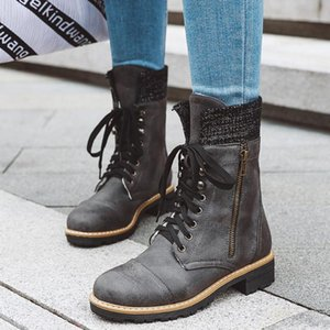 Women's Ladies European Style Warm Non-slip Boots Girls Riding Cowboy Snow Boots Motorcycle For Ladies Lace-Up Shoes