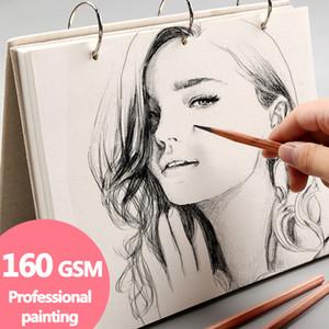 나선형 스케치 북 슈퍼 두꺼운 노트북 레트로 리넨 하드 커버, 120 페이지 160 GSM, 전문 페인팅, 교체 할 수있는 리필