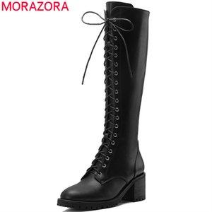 2020 고품질 진짜 가죽 신발 여성 무릎 높은 부츠는 우편 가을 패션 오토바이 부츠 woman210를 레이스