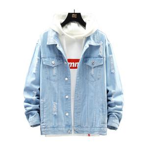 Sıcak Moda Erkek Denim Ceket Yırtık Uzun Kollu Jean Ceket Sokak Stil Erkekler Genç Ceket Palto Açık Mavi Derin Mavi