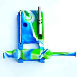Mini Design Nektar Kollektor Kits Großhandel Ti Nagelöl Mutilcolor Silikon Kollektor mit Edelstahlspitze Rauchen Zubehör