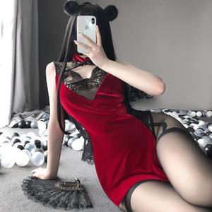 sexyy cosplay vestido tradicional chino para las mujeres gótico punk mini diablo negro cheongsams fiesta moda color sólido satén v