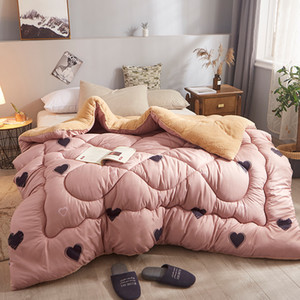 Plant Floral Lamb cashmere and velvet Fabric warm winter wool quilt thicken comforter duvet blanket king queen single