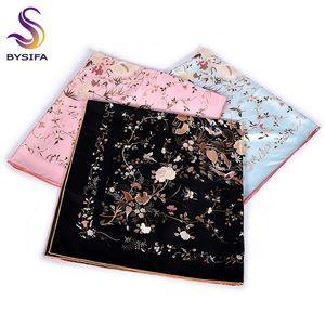[BYSIFA] Women Brand Twill Square Scarves Printed Apparel Accessories Ladies 100% Silk Large Neck Scarf Hijab Orange Black Y201007
