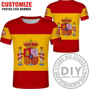 Испания Футболка Diy Free сшитого Имя Номер Esp T Shirt Nation Флаг Es Испанская Страна Колледж фотопечать Логотип Текст Одежда wmtsFE