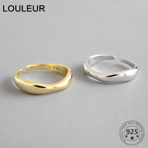 LouLeur 100% 925 Sterling Silver Open Ring for Women INS Minimalist Irregular Wave Pattern Gold Color Jewelry Bijoux Birthday