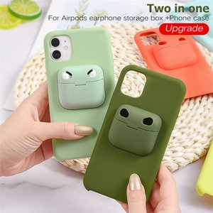 2in1 Earphone Storage Box For AirPods 1 2 3 Phone Case For iphone 12 Pro Max 11 Xs Liquid Silicone Back Cover