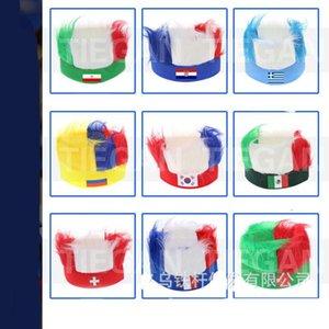 2018 parrucca Coppa del Mondo russo universale multi colori pelliccia Parrucche Ployester elastico National Flag fascia di modo 9 99tg Bb