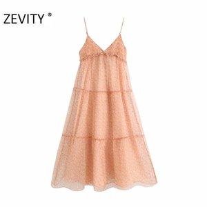 Zevity Yeni Kadın v boyun çiçek baskı organze vestido gündelik sapan midi elbise bayanlar ayarlanabilir askısı Şık Elbiseler DS4238 havalandıran