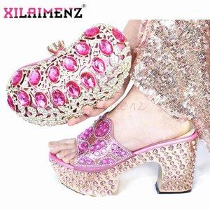 Novidade nova em cor rosa com plataforma italiana senhora sapatos e saco para matemática heelsl alto com cristal shinning para festa1