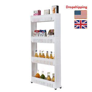 Stock in US UK Kitchen Storage Shelves with Wheel Portable 4 Layer Plastic Rack Organizer White Dropshipping
