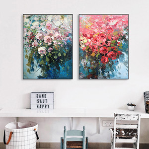 Nordic Modern Oil Painting Flowers Pictures Canvas Painting Posters and Prints For Living Room Wall Art Home Decoration