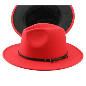 Chapeau de Fedora pour hommes pour gentleman large de laine large jazz église bouchon plat large plat plat jazz chapeaux élégant trilby panama casquette FD19061