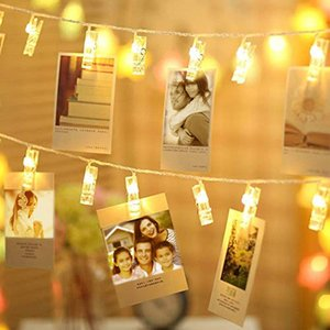 Photo Clip String Lights Home Decor Indoor Outdoor, 20 Warm White LED Light 3m for Hanging Pictures Cards Artwork