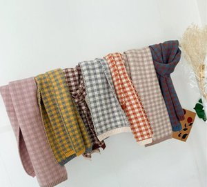 Cabritos de la manera de la tela escocesa de la bufanda de Corea del invierno de los niños de punto a cuadros muchachos de la bufanda retro de las muchachas del enrejado Mantón grueso caliente bufandas S834