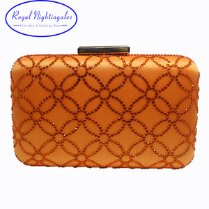 Wholesale Big Capacity Larger Size Crystal Hard Case Box Clutch Evening Bag and Clutches Orange Q1113