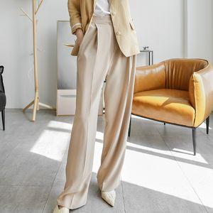 2021 Nuevo Sherhure White Otoño Color Puro Mujeres Piernas anchas Pantalones femeninos rectos J9NH