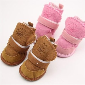 4pcs set Non-slip Cotton Waterproof Warm Winter Shoes Teddy Pet Thick Soft Bottom Snow Boots for Small Dog