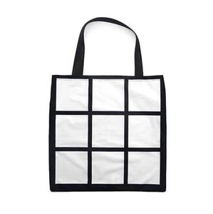 Blank Sublimation Grid Tote Bag White DIY Heat Transfer Sudoku Shopping Bag Double Sides Gridview Reusable Storage Bags Handbag F102001