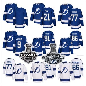 Tampa Bay Lightning 2020 Stanley Cup Champions 91 Steven Stamkos 86 Nikita Kucherov 77 Victor Hedman 21 Brayden Point Hockey Jerseys