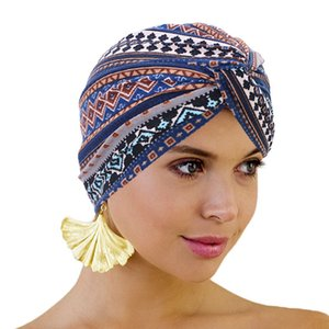 New Bohemian Style Top Knot Turban Twist Headwrap Printing Headcovers Women Bonnet Cotton Print African Hair Sleep Chemo Caps F1222