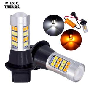 2Pcs 12V DRL Turn Signal LED Bulb BA15S BAU15S 1156 T20 7440 Car Daytime Running Light 42SMD White Amber Switchback Car Lights
