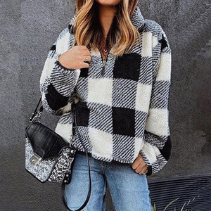 shi ying Lattice Hoodie Female Autumn and Winter New Style Europe and America Zipper ban kai jin Stand Collar Pullover Plush Hoo