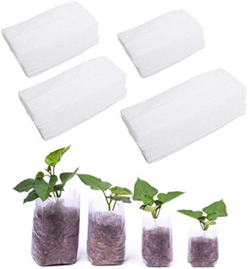 400Pcs Biodegradable Non-Woven Nursery Bags, Plant Grow Bags Vegetables Fabric Seedling Pots Plants Transplant Grow PouchHome Garden Supply