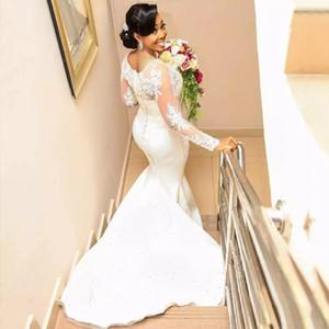 우아한 깎아 지른 스쿠프 긴 소매 단추 장식 된 백업 코트 열차 교회 결혼식 신부 가운 아플리케와