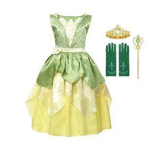 MUABABY Kız Tiana Prenses Kostüm Çocuk Kolsuz Prenses ve Kurbağa Giydirme Cadılar Bayramı Çocuk Parti Dans Fantezi 201020