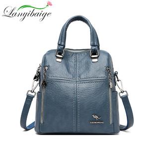 LANYIBAIGE Новый женский рюкзак Многофункциональный сумки конструктора кожи высокого качества Женщины Crossbody сумка ранцы путешествий Рюкзаки 201006