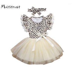 Multitrust 0-4Y Yaz Prenses Çocuklar Bebek Kız Elbise Kafa 2 adet Leopar Baskı Ruffles Kol Dantel Tutu Dress1