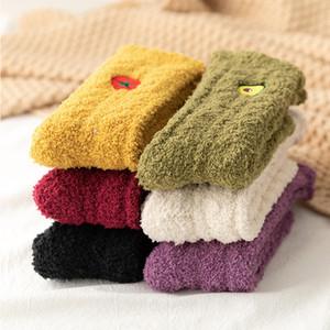 Coral Velvet Thick Towel Socks Lady Winter Warm Fluffy Stockings Adult Candy Color Floor Sleep Fuzzy Socks Christmas Gift X706FZ