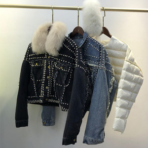 Down Jacket Women Winter 90% White Duck Down Coat Detachable Feather Liner Natural Fox Fur Collar Female Parkas Rivet Denim Coat 201017