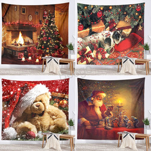 Christmas Printed Santa Claus Tapestry Christmas Decorations Tapestry Wall Background Hanging Blanket Beach Towel Picnic Mats BH3784 TQQ