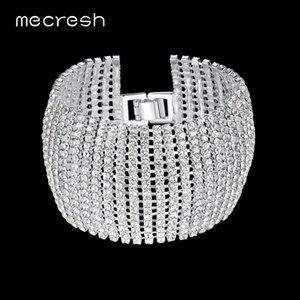 Mecresh Crystal Bridal Bracelets for Women Rhinestone African Bridesmaid Bangles 2021 Wedding Prom Jewelry Christmas Gift SL145