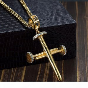 K Men &#039 ;S Hip Hop Necklace Nail Cross Cz Crystal Gold Plated Stainless Steel Pendant Box Chain 24 &Quot ;Fashion Necklace